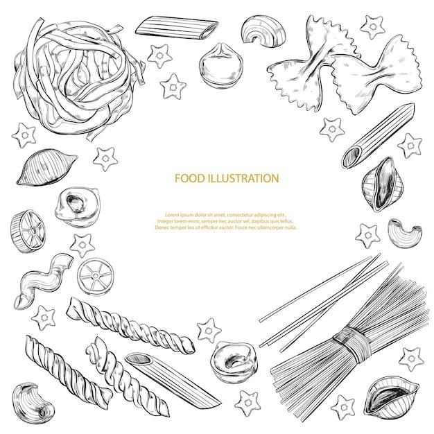 Différents Types De Pâtes Isolés Sur Blanc Vecteur Premium