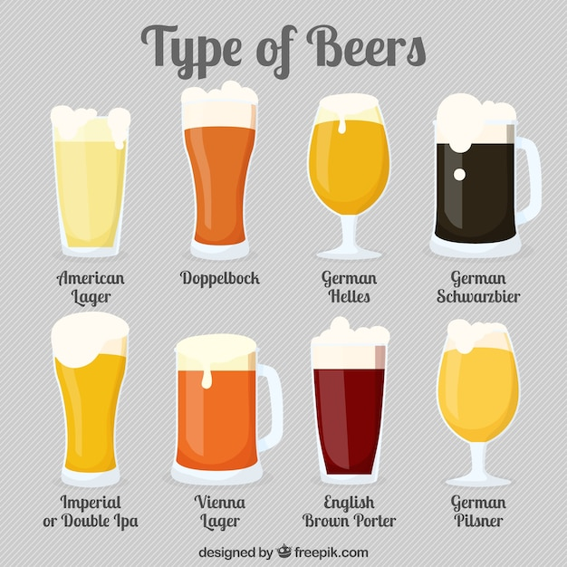 Différents types de verres avec de la bière Vecteur gratuit