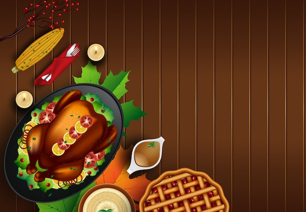 Dinde de noël ou de thanksgiving sur fond de table en bois rustique avec fond Vecteur Premium