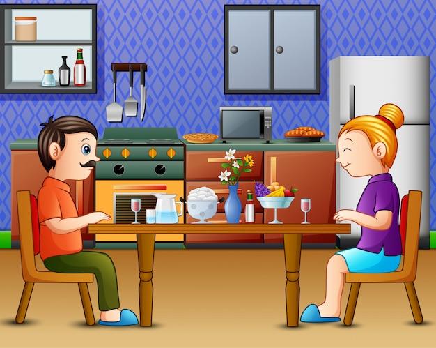 Dîner En Famille Sur La Table De La Cuisine Avec Papa Maman Vecteur Premium