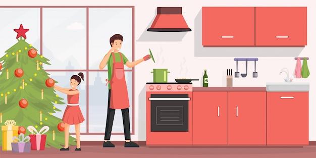 Dîner de noël cuisine illustration plate. Vecteur Premium