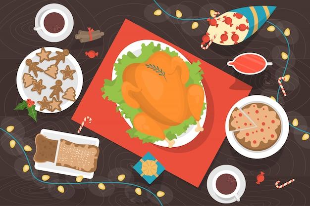 Dîner De Noël Sur La Vue De Dessus De Table. Délicieux Poulet Et Dessert Avec Une Décoration Autour. Illustration En Style Cartoon Vecteur Premium