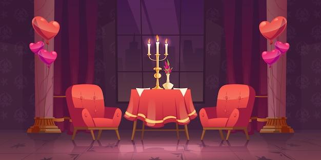 Dîner Romantique Au Restaurant à La Saint Valentin Vecteur gratuit