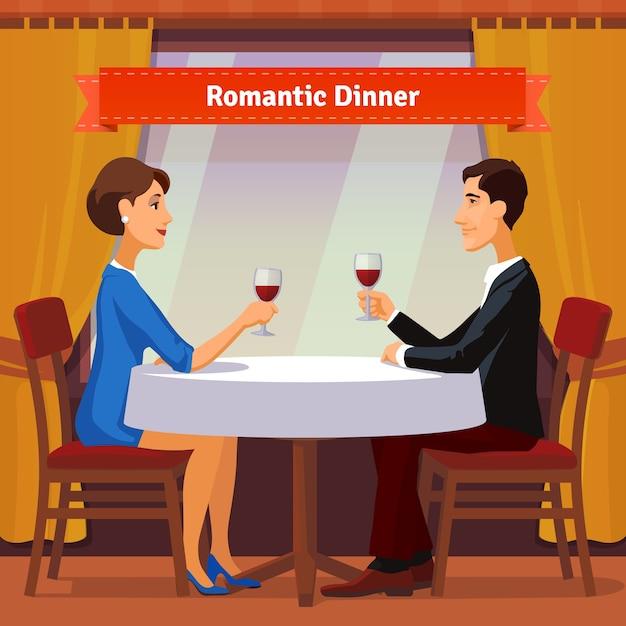 Dîner romantique pour deux personnes. homme et femme Vecteur gratuit