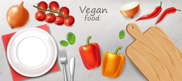 Dîner végétarien Vecteur Premium