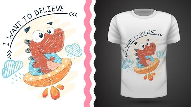 Dino and ufo - idée de t-shirt imprimé Vecteur Premium