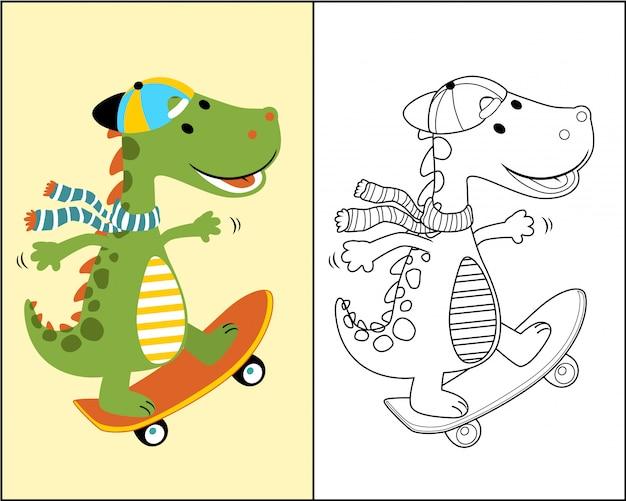 Dino cartoon le skateur Vecteur Premium
