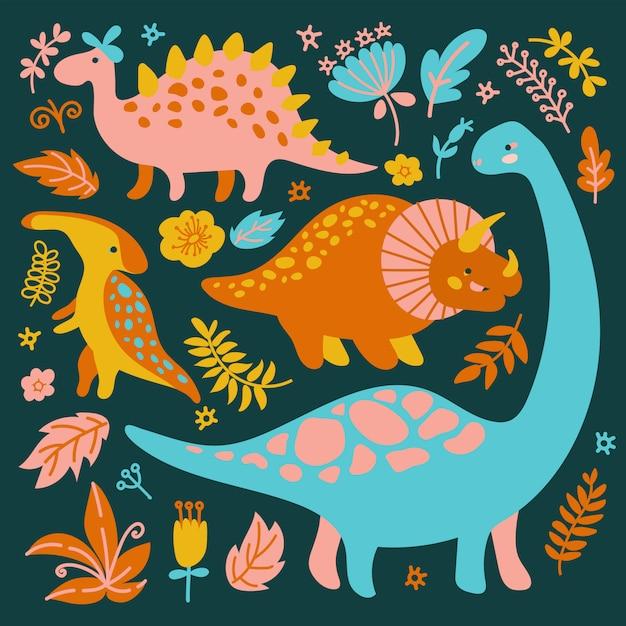 Dino Collection Grunge Prehistoric Cartoon Animals Vector Illustration Set Pour Impression Vecteur Premium