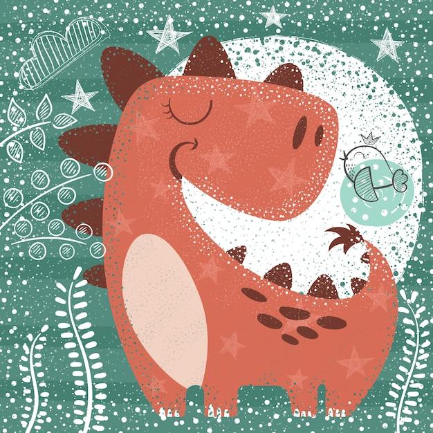 Dino drôle mignon - illustration texturée Vecteur Premium