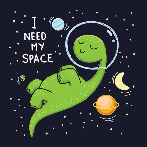 Dino mignon astronaute dessiné à la main pour t-shirt Vecteur Premium