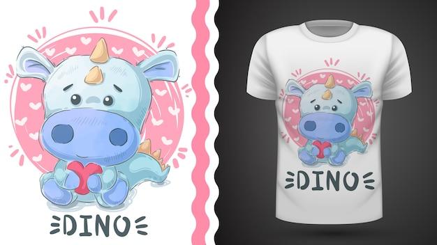 Dino mignon - idée d'imprimer un t-shirt Vecteur Premium