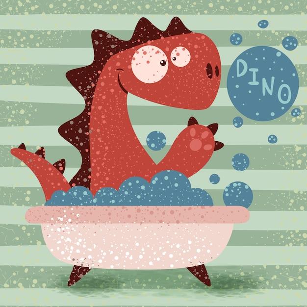 Dino mignon laver dans la salle de bain Vecteur Premium