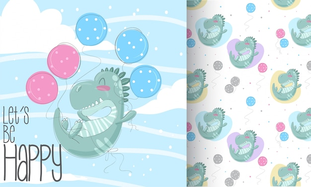 Dino mignon pattern set main dessiner illustration Vecteur Premium