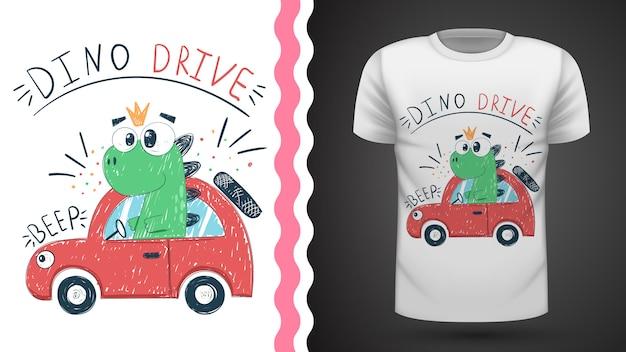 Dino mignon avec voiture - idée d'imprimer un t-shirt Vecteur Premium