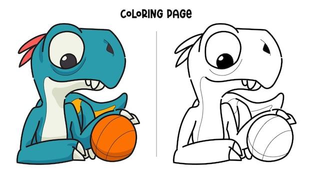 Dinosaure Bleu Et Basket-ball Vecteur Premium