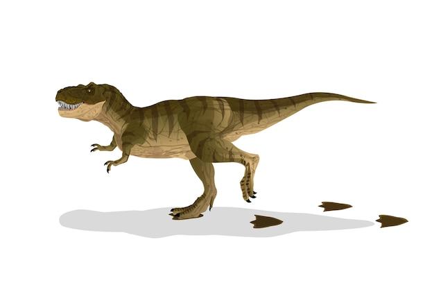 Dinosaure Cartoon Tyrannosaurus T-rex Marché Avec Des Empreintes De Pas. Vecteur Premium