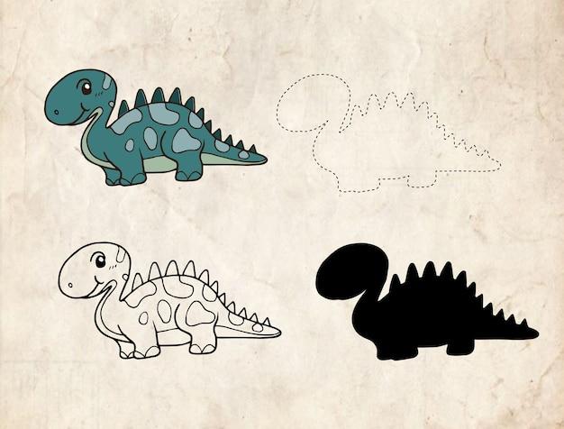 Dinosaure de dessin animé Vecteur Premium