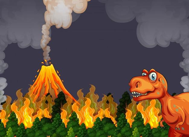 Un dinosaure fuit l'éruption du volcan Vecteur Premium