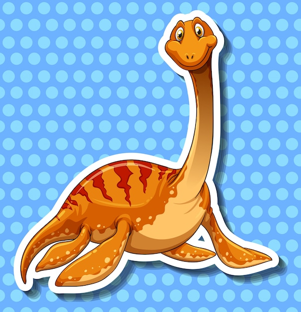 Dinosaure à long cou sur bleu Vecteur gratuit