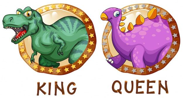 Dinosaures sur des badges ronds Vecteur gratuit