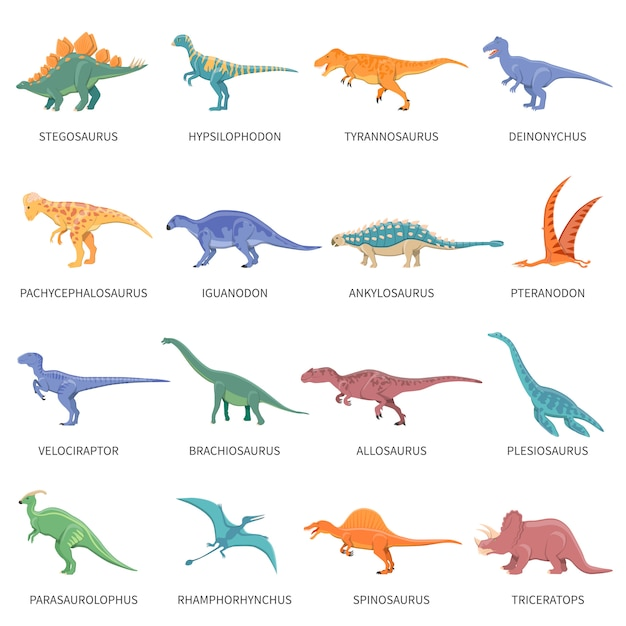 Dinosaures couleur isolé icons set Vecteur gratuit