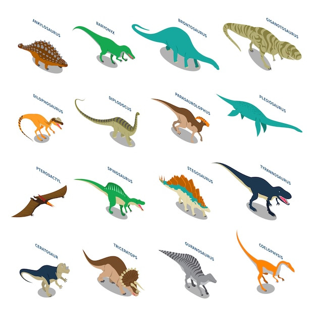 Dinosaures isometric icons set Vecteur gratuit