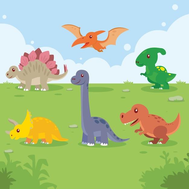 Dinosaures Mis En Dessin Animé Bébé Mignon Coloré Pour Une Chambre D'enfants Vecteur Premium