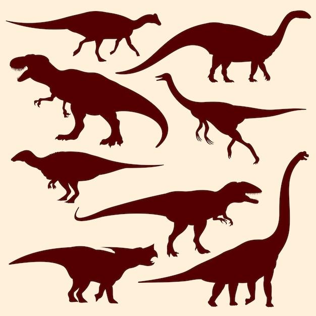 Dinosaures, silhouettes de reptiles fossiles de vecteur Vecteur Premium