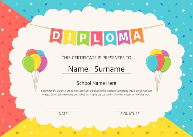 Diplôme, Certificate For Kids Vecteur Premium