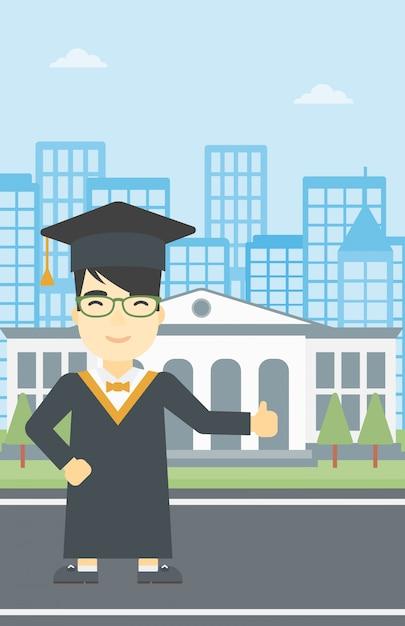 Diplômé donnant le pouce en haut illustration vectorielle. Vecteur Premium