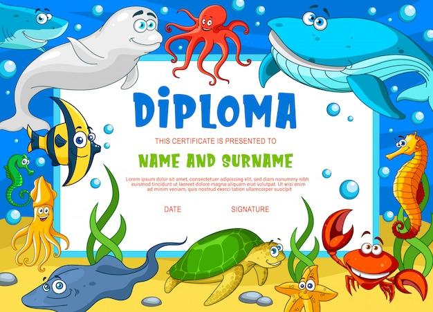Diplôme D'éducation Pour Les Animaux Sous-marins De L'école Vecteur Premium