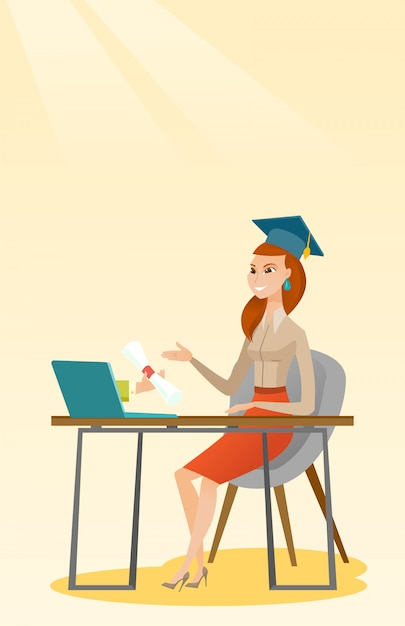 Diplômé obtenant un diplôme de l'ordinateur. Vecteur Premium
