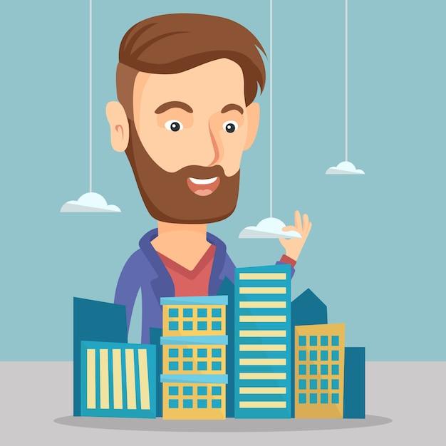 Directeur des ventes présentant le modèle de ville. Vecteur Premium
