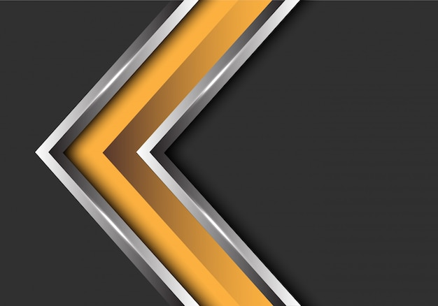 Direction de la flèche d'argent jaune sur fond d'espace gris. Vecteur Premium