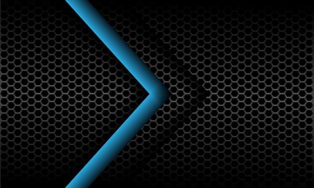 Direction De La Flèche Bleue Abstraite Sur Maille Hexagonale Métallique Gris Foncé Modèle Design Fond Futuriste Moderne Vecteur Premium