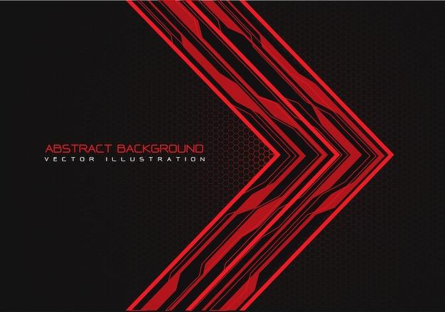Direction de la flèche de circuit rouge avec fond de maille hexagonale. Vecteur Premium