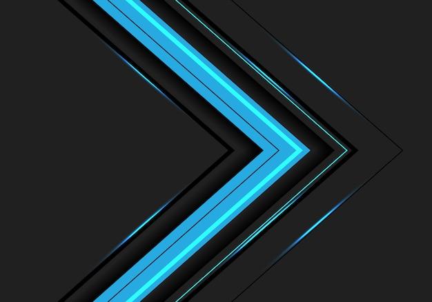 Direction de la flèche de lumière bleue abstraite sur fond gris foncé. Vecteur Premium