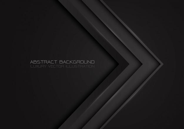 Direction métallique flèche gris foncé sur fond noir de luxe. Vecteur Premium