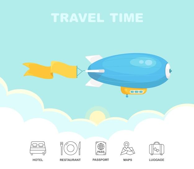 Dirigible Volant Dans Le Ciel Bleu Avec Des Nuages. Dirigeable Vintage, Zeppelin. Voyage En Dirigeable Vecteur Premium
