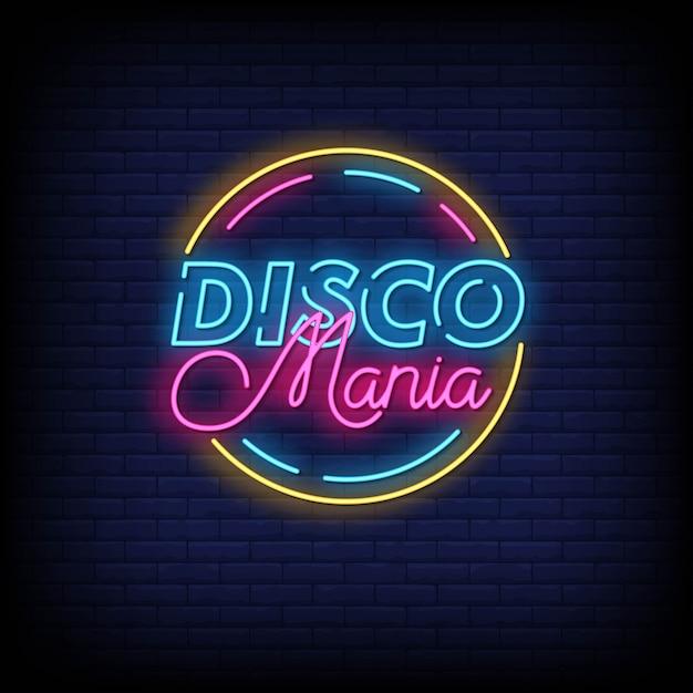 Disco mania enseignes au néon style texte Vecteur Premium