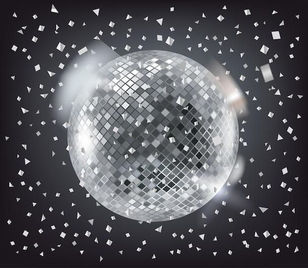 Disco sphère et confettis argentés sur noir Vecteur Premium