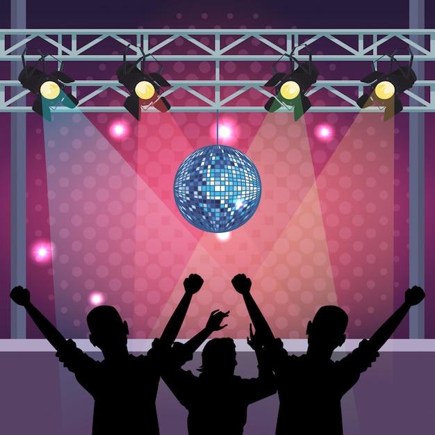 Disco womens chantant et dansant sur scène Vecteur Premium