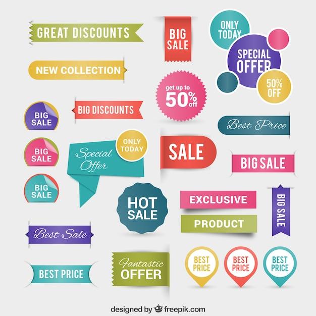 Discount labels Vecteur gratuit