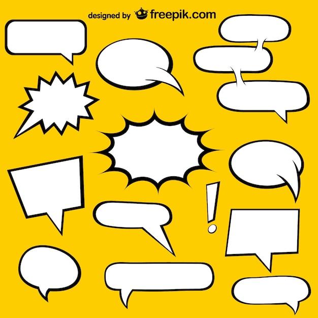 Discours de bd bulles éléments libres Vecteur gratuit