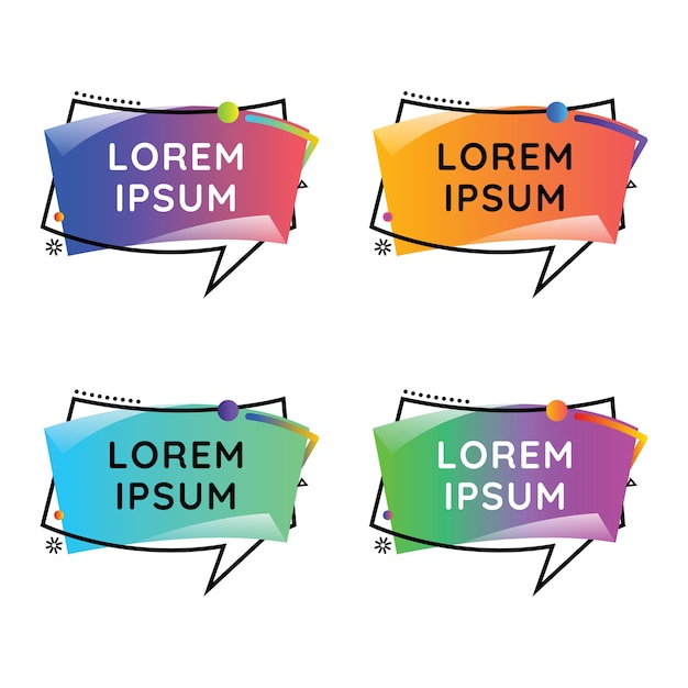 Discours buble wavecolorful set Vecteur Premium