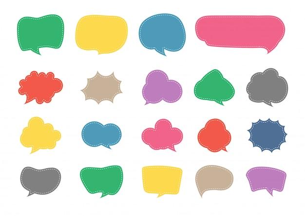 Discours bulle coupe papier ensemble de conception Vecteur Premium