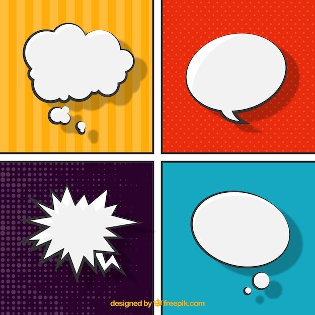 Discours comic bubbles Vecteur gratuit
