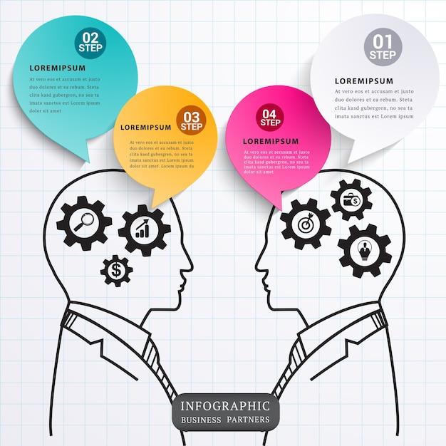 Discours talk partners. Vecteur Premium