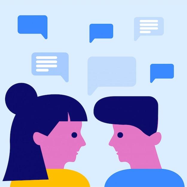 Discussion homme et femme Vecteur Premium