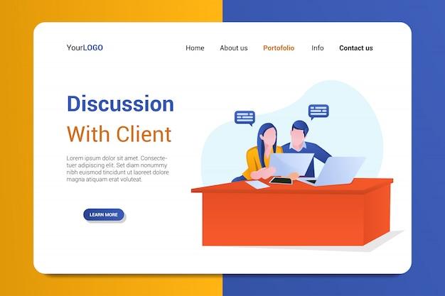 Discussion avec le modèle de page de destination du client Vecteur Premium